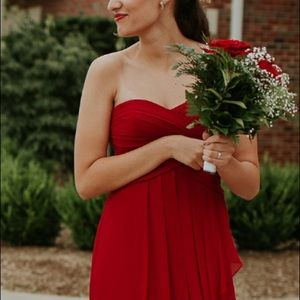 Red Strapless Crinkle Chiffon Dress with Cascade